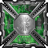 Aztec Style Modern Edge Fire Fighter Maltese Cross Decal in Green Inferno Flames