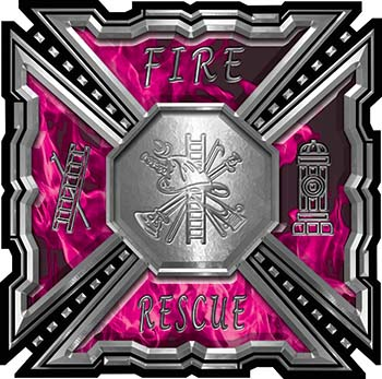Aztec Style Modern Edge Fire Fighter Maltese Cross Decal in Pink Inferno Flames