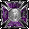 Aztec Style Modern Edge Fire Fighter Maltese Cross Decal in Purple Inferno Flames