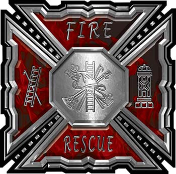 Aztec Style Modern Edge Fire Fighter Maltese Cross Decal in Red Inferno Flames