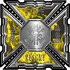Aztec Style Modern Edge Fire Fighter Maltese Cross Decal in Yellow Inferno Flames