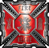 Aztec Style Modern Edge Fire Fighter Maltese Cross Decal in Red