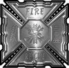 Aztec Style Modern Edge Fire Fighter Maltese Cross Decal in Silver