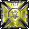 Aztec Style Modern Edge Fire Fighter Maltese Cross Decal in Yellow
