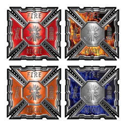 Aztec Firefighter Maltese Cross Decal