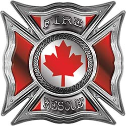 Celtic Style Rough Steel Fire Fighter Maltese Cross Decal with Canadian Flag