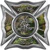 Celtic Style Rough Steel Fire Fighter Maltese Cross Decal in Camouflage