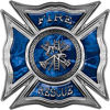 Celtic Style Rough Steel Fire Fighter Maltese Cross Decal in Blue Camouflage