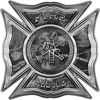 Celtic Style Rough Steel Fire Fighter Maltese Cross Decal in Gray Camouflage