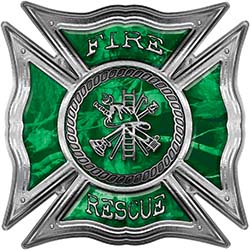 Celtic Style Rough Steel Fire Fighter Maltese Cross Decal in Green Camouflage