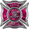 Celtic Style Rough Steel Fire Fighter Maltese Cross Decal in Pink Camouflage