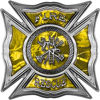 Celtic Style Rough Steel Fire Fighter Maltese Cross Decal in Yellow Camouflage
