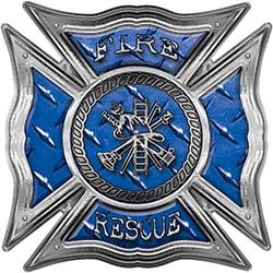 Celtic Style Rough Steel Fire Fighter Maltese Cross Decal in Blue Diamond Plate