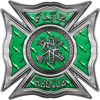 Celtic Style Rough Steel Fire Fighter Maltese Cross Decal in Green Diamond Plate