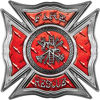 Celtic Style Rough Steel Fire Fighter Maltese Cross Decal in Red Diamond Plate