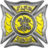 Celtic Style Rough Steel Fire Fighter Maltese Cross Decal in Yellow Diamond Plate