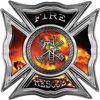 Celtic Style Rough Steel Fire Fighter Maltese Cross Decal with Fire