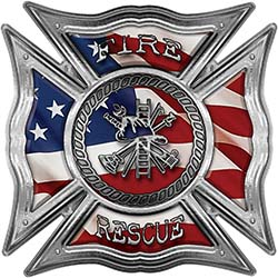 Celtic Style Rough Steel Fire Fighter Maltese Cross Decal with American Flag