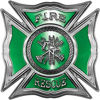 Celtic Style Rough Steel Fire Fighter Maltese Cross Decal in Green