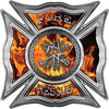 Celtic Style Rough Steel Fire Fighter Maltese Cross Decal in Inferno