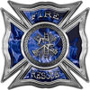 Celtic Style Rough Steel Fire Fighter Maltese Cross Decal in Blue Inferno