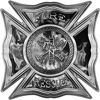 Celtic Style Rough Steel Fire Fighter Maltese Cross Decal in Gray Inferno