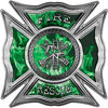 Celtic Style Rough Steel Fire Fighter Maltese Cross Decal in Green Inferno