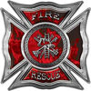 Celtic Style Rough Steel Fire Fighter Maltese Cross Decal in Red Inferno