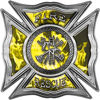Celtic Style Rough Steel Fire Fighter Maltese Cross Decal in Yellow Inferno