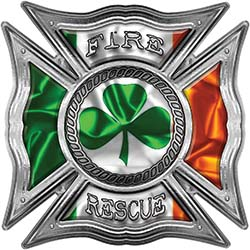 Celtic Style Rough Steel Fire Fighter Maltese Cross Decal with Irish Flag and Shamrock