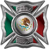 Celtic Style Rough Steel Fire Fighter Maltese Cross Decal with Mexican Flag