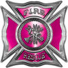 Celtic Style Rough Steel Fire Fighter Maltese Cross Decal in Pink
