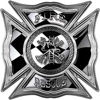 Celtic Style Rough Steel Fire Fighter Maltese Cross Decal with Checkered Racing Victory Flag