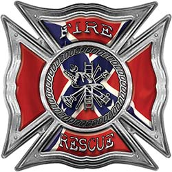 Celtic Style Rough Steel Fire Fighter Maltese Cross Decal with Confederate Rebel Flag