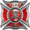 Celtic Style Rough Steel Fire Fighter Maltese Cross Decal in Red