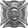 Celtic Style Rough Steel Fire Fighter Maltese Cross Decal in Silver
