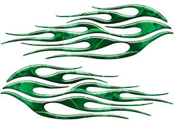 Motorcycle Tank Flame Decal Kit in Camo Green