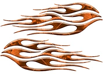 Motorcycle Tank Flame Decal Kit in Camo Orange