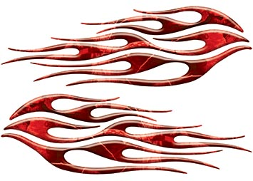 Motorcycle Tank Flame Decal Kit in Camo Red