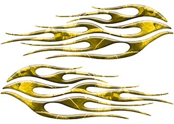 Motorcycle Tank Flame Decal Kit in Camo Yellow