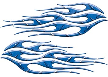 Motorcycle Tank Flame Decal Kit in Diamond Plate Blue