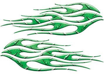 Motorcycle Tank Flame Decal Kit in Diamond Plate Green