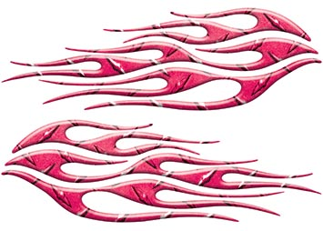 Motorcycle Tank Flame Decal Kit in Diamond Plate Pink