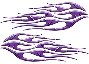 Motorcycle Tank Flame Decal Kit in Diamond Plate Purple