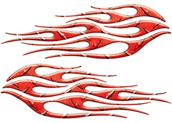 Motorcycle Tank Flame Decal Kit in Diamond Plate Red