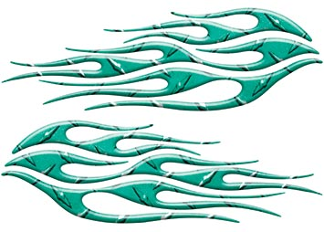 Motorcycle Tank Flame Decal Kit in Diamond Plate Teal