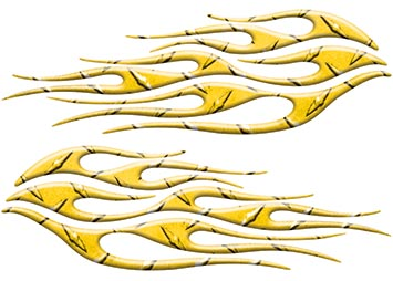 Motorcycle Tank Flame Decal Kit in Diamond Plate Yellow