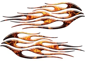 Motorcycle Tank Flame Decal Kit in Inferno