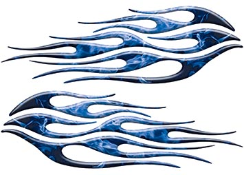 Motorcycle Tank Flame Decal Kit in Inferno Blue
