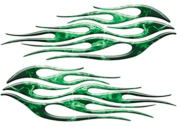 Motorcycle Tank Flame Decal Kit in Inferno Green